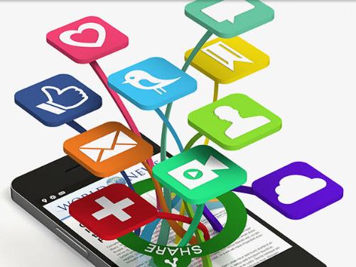Social Media Logos Coming Out Of Phone