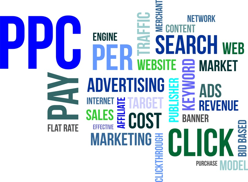 pay per click word map in blues and greens for Pay Per Click Company Chicago