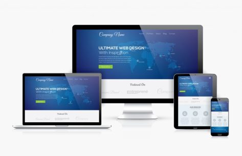esponsive web design template realistic vector devices concept for a website design company highland IN
