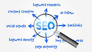 SEO Concept with Magnifying Glass for a SEO company merrillville