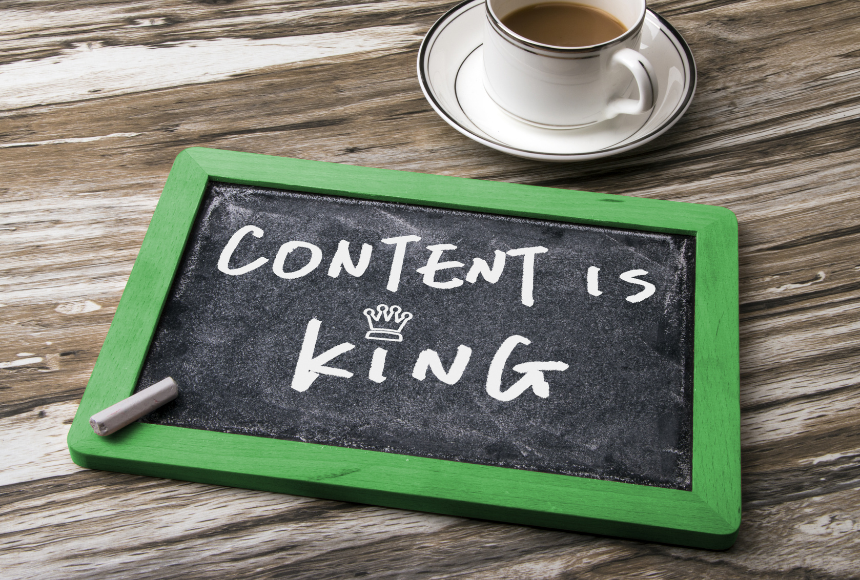 content is king written on chalkboard and content is king at NUVEW in the midwest