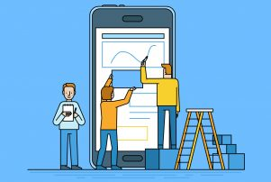 Mobile app design as a vector illustration and if you need your website to be redesigned for mobile use contact a web design company in Crown Point.