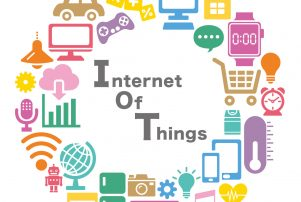The title internet of things in a circle of devices that explain what the concept is and if you need iot help with your website contact a local company here.