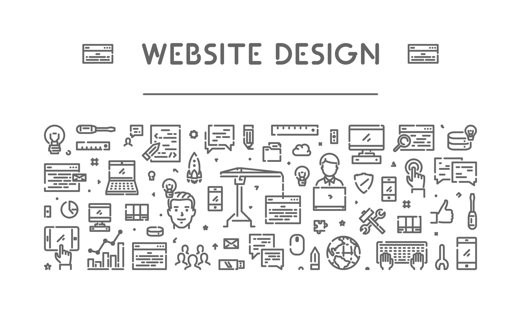 Modern line web banner for web design and if you are looking for a fantastic web site design firm look for one in Crown Point.