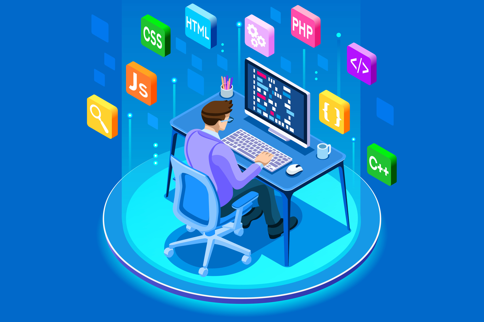 Programmer and engineering development illustration and if you are in dire need of a web developer, you will find one in Crown Point.