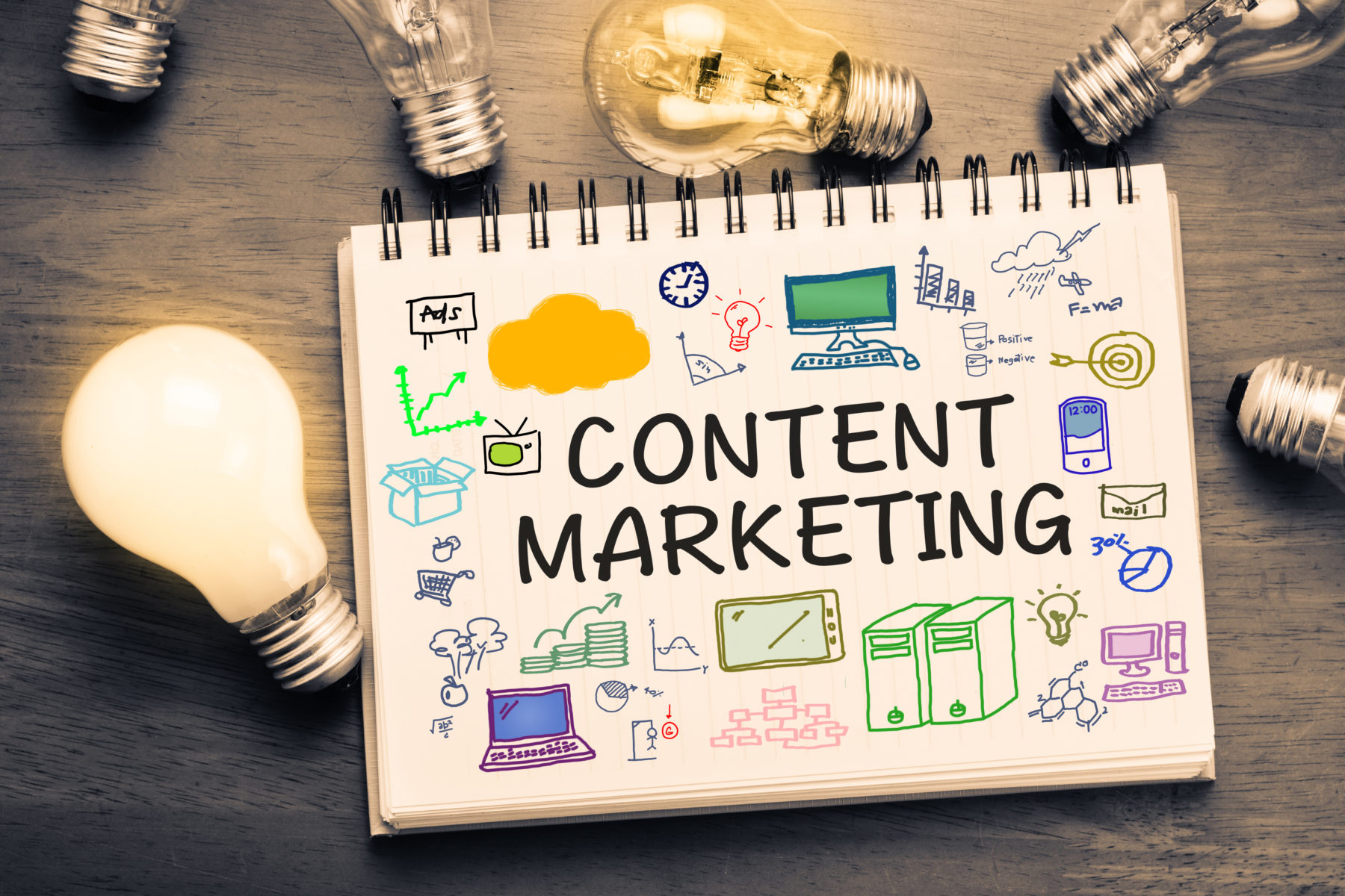 content marketing concept drawn on a notepad rerpesenting how our Crown Point digital marketing team understands content
